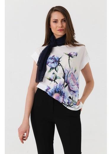 Jument Cobe Çiçek Baskılı Bluz Krem